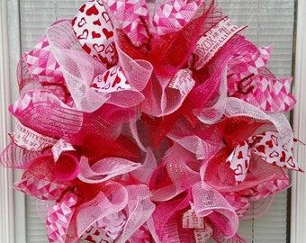 SALE Valentine Wreath, Valentine's Day Wreath, Heart Wreath, Holiday Wreath, Love Wreath, Deco Mesh Wreath, Ribbon Wreath