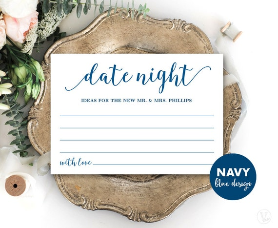 Navy blue date night card template printable wedding date for Date night gift certificate templates