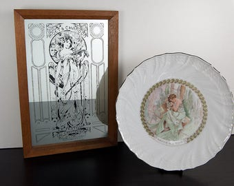 Alphonse Mucha Collectibles - Mirror for Moët et Chandon - Festival du Champagne - Collectors Plate - Repos de la Nuit - Art Nouveau Style