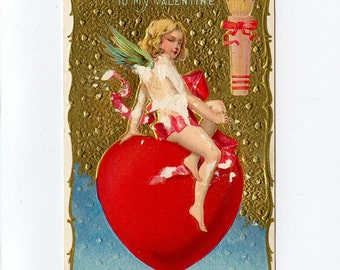 Vintage Valentine's Day Postcard Cupid Angel Red Ribbon Heart Arrows Quiver by Edward Nash Series 22 Unused Embossed - 7740Pa