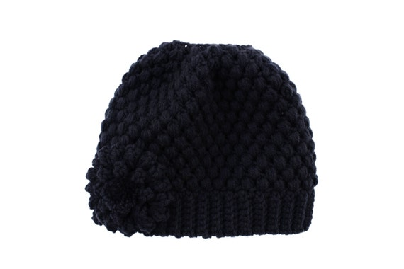 Ready to Ship**Free Shipping/Messy Bun Hat/Crochet Black Bun Beanie Hat/Messy Bun Beanie/Bun Beanie/Ponytail Hat/Knit Knitted Bun Beanie Hat