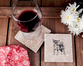 Set of 4 Short-Haired Chihuahua Travertine Stone Coasters