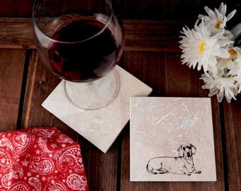 Set of 4 Dachshund Travertine Stone Coasters