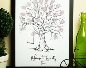 personalised family fingerprint tree, family tree fingerprint, fingerprint tree, family tree, customised family tree print, thumbprint tree