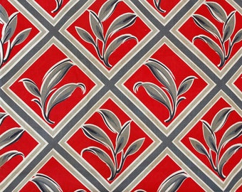 30's 40's cotton red with gray and cream abstract leaves or flowers in diamond plaid pattern