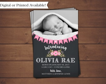 Birth Announcement, Girl Birth Announcement, Floral Birth Annoucement