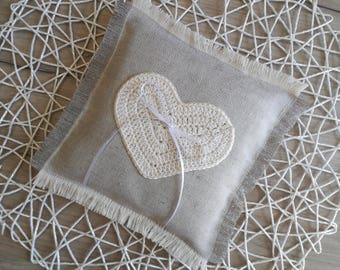 Heart ring pillow, Linen ring pillow, Wedding ring pillow, crochet ring pillow, rustic wedding ring pillow