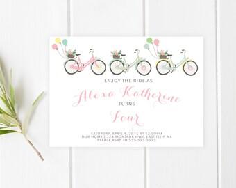 Birthday Party Invitation, Girl Birthday Party Invite, Balloon Invitation, Bicycle Birthday Party Invitation, Printable Birthday Invite[213]