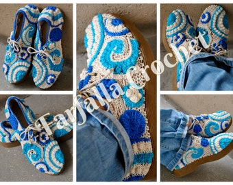 Spring-Summer-Autumn, Outdoor shoes, Irish crochet shoes, Slipper shoes