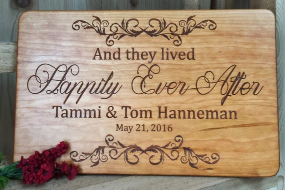 Happily Ever After Engraved Cutting Board with Names & Wedding Date in Maple, Walnut, Cherry or White Oak Wood.