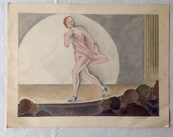 Original Watercolor of a Burlesque Performer by Edloe Risling