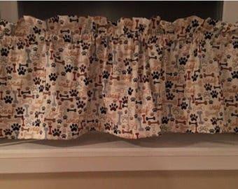 Dog Cat Paw Prints Dog Bones Valance or Curtain Panel