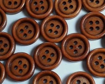 25pcs Wooden Buttons - Small Wood Buttons - 15mm Buttons - Sewing Buttons - 4 Hole Buttons - Coat Buttons -  B10382