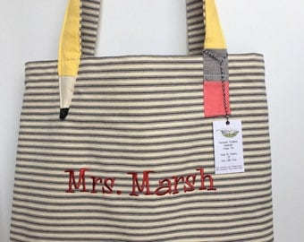 Teacher Tote Bag, Free Personalization, Teacher Gift, Quality Canvas, Ticking, School tote bag, Teacher bag, Trendy Teacher Gift, Large