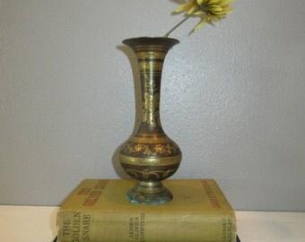 Vintage Etched Brass Flower Vase Made in India, Lovely 50's Brass Vase with Ornate Floral Design-Etnic Brass Pedestal Vase-Rustic Farmhouse