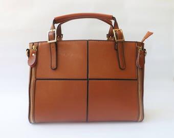 Light Brown Satchel Bag | Shoulder Bag | Tote Bag | Top Handle Bag | Structured Bag | Faux Leather Bag | Crossbody Bag