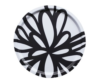 Tray for kitchen with floral pattern - black and white