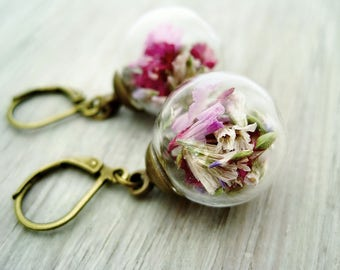 Glass ball earrings real dried flowers glass orb filled dried blossom dangles silver plated globe ball earrings antique bronze vintage