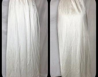 Vanity Fair Half Slip in Maxi Length with Back Slit - Size Medium