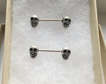 Set of 2 Antique Silver Skull Nipple Ring.237.