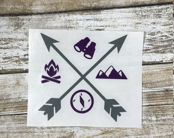 Adventure Decal/ hiking decal / adventure sticker / monogram decal / traveling decal / camping decal / mountain decal / mountain sticker