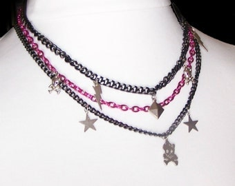 Multi Strand Chain Necklace - Layered - Chain Bib - Pink Chain / Black Gunmetal - Skull & Crossbones / Lightening Bolt / Stars