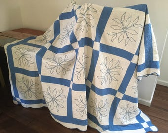 Antique Blue White Hand-Quilted Embroidered Block Patchwork Quilt 1940s M813