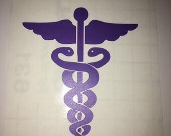 Caduceus medical symbol vinyl sticker