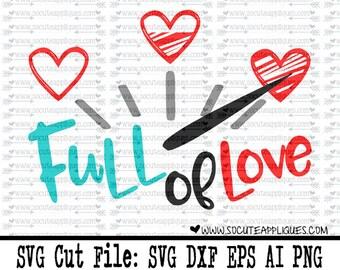 Valentine SVG, Full of Love svg, wedding decor svg, valentine cut file, heart svg, cupid svg, socuteappliques, Wedding svg, arrow svg