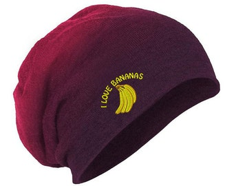 I Love Bananas Embroidery Embroidered Slouch Long Beanie Skully Hat Cap (BNSLFOODMI2747L)