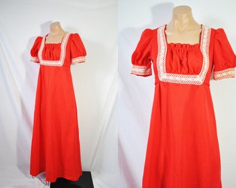 Vintage 70s Red Casual Prom Dress Bohemian Formal Dress Hippie Summer Dress Long Empire Waist Boho Dress Maxi Evening Dress Bridesmaid Dress