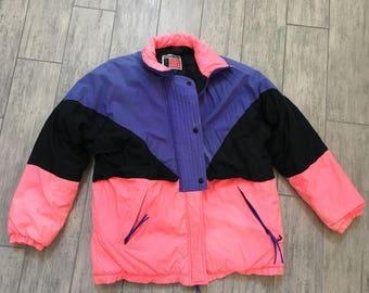 Vintage 80s 90s Neon Womens Ski Jacket Coat Size Large