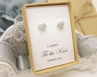 Tie the Knot Earrings with Cubic Zirconia Bridemaid message Gift box