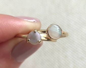 14K yellow gold rings with Australian opals