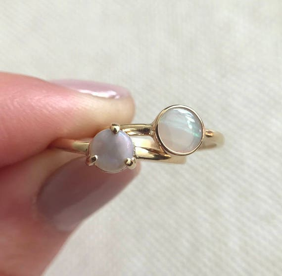 14K yellow gold rings with Australian opals SZ 5 and SZ 6.5