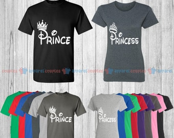 Prince & Princess - Matching Couple Shirts - His and Her T-Shirts - Love Tees