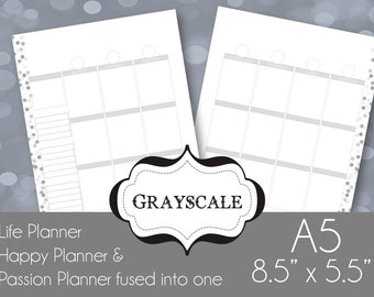 Black & White A5 Printable Planner Pages Week spread vertical box style Sunday Start,  Grayscale