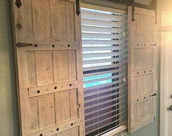 Interior window barn door sliding shutters barn door for Bifold interior window shutters