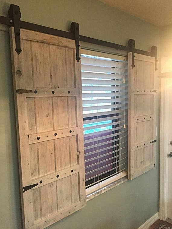Sliding barn door shutters for Bifold interior window shutters