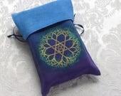 Blue & Purple Silk Tarot Card Bag Hand-dyed Hand-painted Tree and Star Mandala OOAK (TB-N-11)