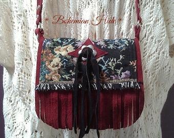 Burgundy suede bag, festival rave bag, fringed leather bag, boho fringe bag, bohemian bag, tapestry bag, crossover bag, small tassle bag