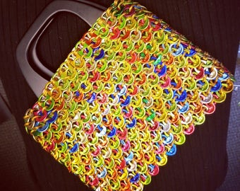 Multi-Colored Purse with Wooden Handle | Soda Tabs | Ready to Ship | Upcycle