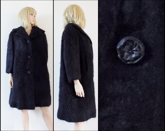 Womans black mohair fluffy coat hand made French fluffy black mohair coat size medium