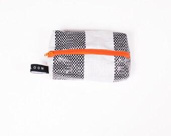 B&W small dopp kit/ toiletries bag/ travel make up bag, made from repurposed upcycled storage bag