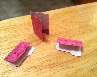 Dollhouse Miniature Decorative Pink Folders~Miniature Office File Pocket Folders