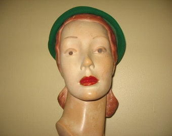 "SALE! 1950's Kelly Green Wool Tiered Casque, the ""Commuter""!"