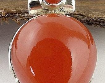 SILVER PENDANT CARNELIAN natural stone, Carnelian Beaubassin, carnelian jewels, mb41