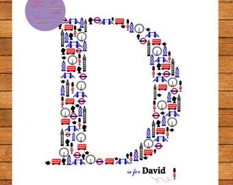 London Letter Picture, Name, Nursery Art, Unframed Art, Home Decor, PRINT ONLY.