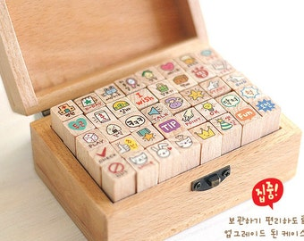 40 Pcs Korean Stamp Set - Wooden Rubber Stamp Set - Diary Stamps - ToTo Ver 2