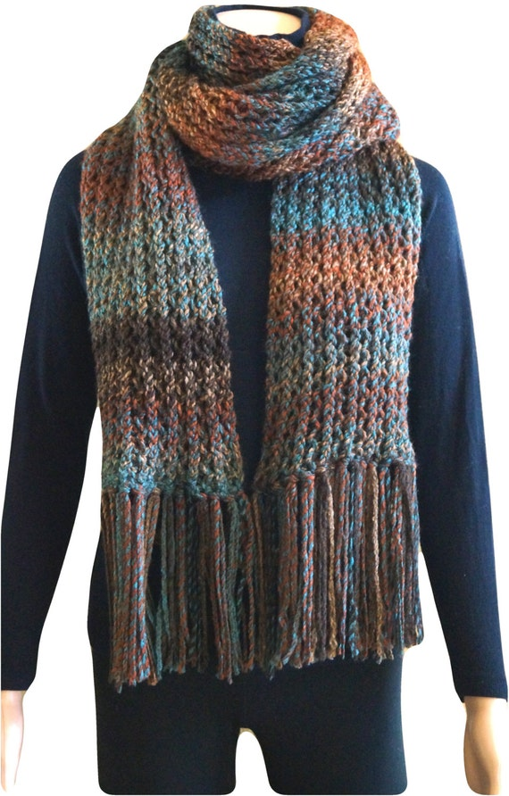 Loom knit long scarf
